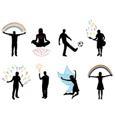 Concept pictures with people silhouette in vector
