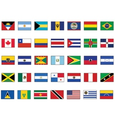 flag set of all american countries vector image