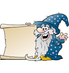 Cartoon of a happy old wizard magic man holding a vector