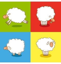 Four white sheeps isolated on colored background vector