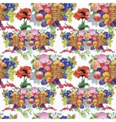 Fruits and flowers watercolor seamless pattern vector
