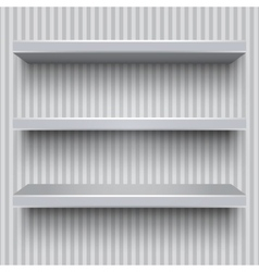 Empty grey shelves striped wall vector