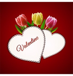 Valentine heart cards and tulips vector