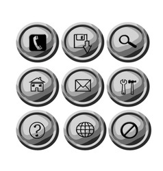 Grey circular buttons for web vector