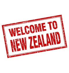 New zealand red square grunge welcome isolated vector