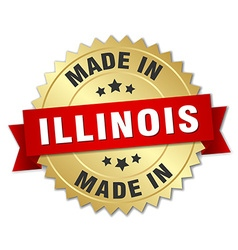 Made in illinois gold badge with red ribbon vector