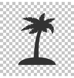 Coconut palm tree sign dark gray icon on vector
