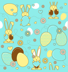 Aster eggs and rabbits easter seamless pattern vector