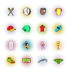 Baseball icons set comics style vector