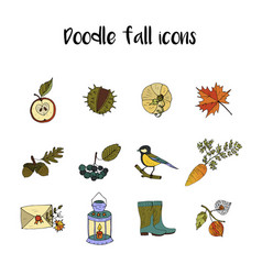 big set of handdrawn unique autumn icons vector image