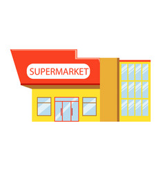 Building of supermarket in red yellow colors vector