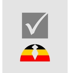 Check mark and human icon textured by germany flag vector image