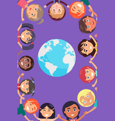Children heads and hands around earth planet vector