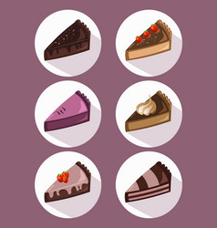 Delicious cake slices set sweet dessert chocolate vector