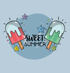 Delicious ice pop to summer day vector