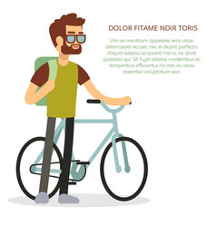 Eco travel concept - man with bicycle and backpack vector