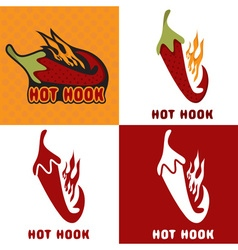 Hot Hook Design Template Set vector image