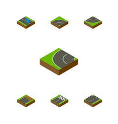 Isometric road set of bitumen upwards unfinished vector
