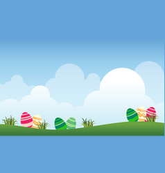 Landscape of easter and cloud vector