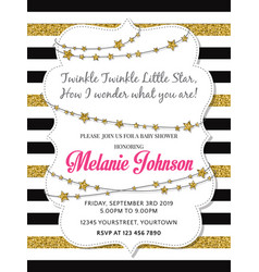 lovely baby shower card template with golden vector image vector image