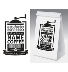 Paper packaging with label for coffee bean vector