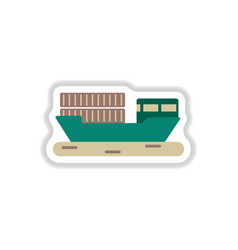Paper sticker on white background ship with vector