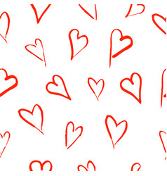 Seamless pattern with hand drawn hearts on white vector