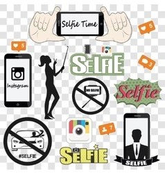 Selfie related icons set vector image