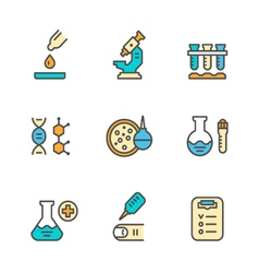 Set color line icons of medical analysis vector