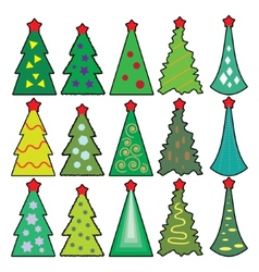 Set of Christmas icons trees in a simplified style vector image vector image