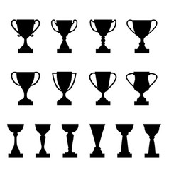 Set of silhouettes of award cups and trophies vector
