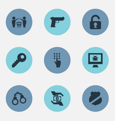 Set of simple protection icons vector