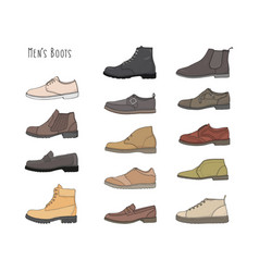 Set with different types men boots vector