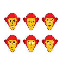 Set with emotions monkeys cheerful and angry vector