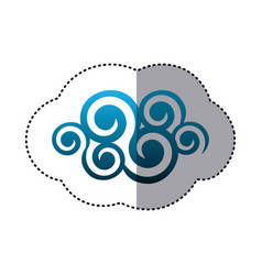 Sticker shading blue cloud spirals and swirls vector
