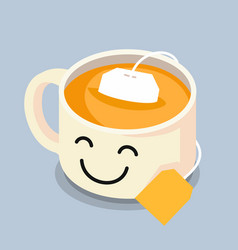 tea cup with smiley face vector image vector image
