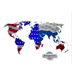 The world map usa with russia and all states vector