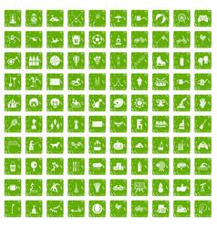 100 kids activity icons set grunge green vector image