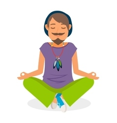 Funky hippie man yoga meditation vector
