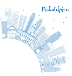 Outline philadelphia skyline with blue buildings vector