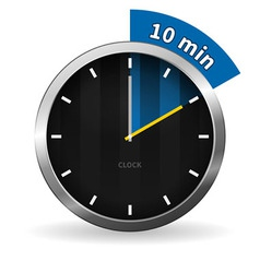 Clock 10 Minutes To Go vector image