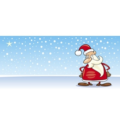 Santa claus with star cartoon card vector