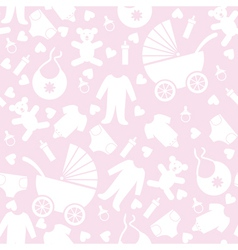 Seamless pink baby background vector