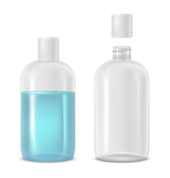 Full and empty bottle with lotion vector