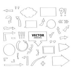 set of hand drawn arrows pen design elements vector image