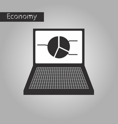 Black and white style icon laptop chart vector