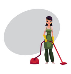 Cleaning service girl charwoman in overalls vector