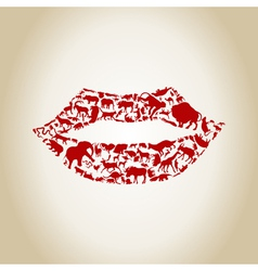 Lip an animal vector