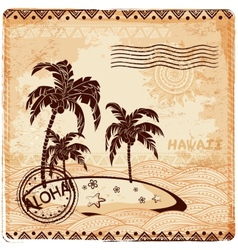 Vintage of the island in the ocean vector image