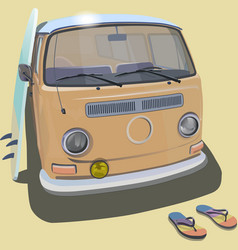 Surfer van beach poster for t-shirt graphics vector